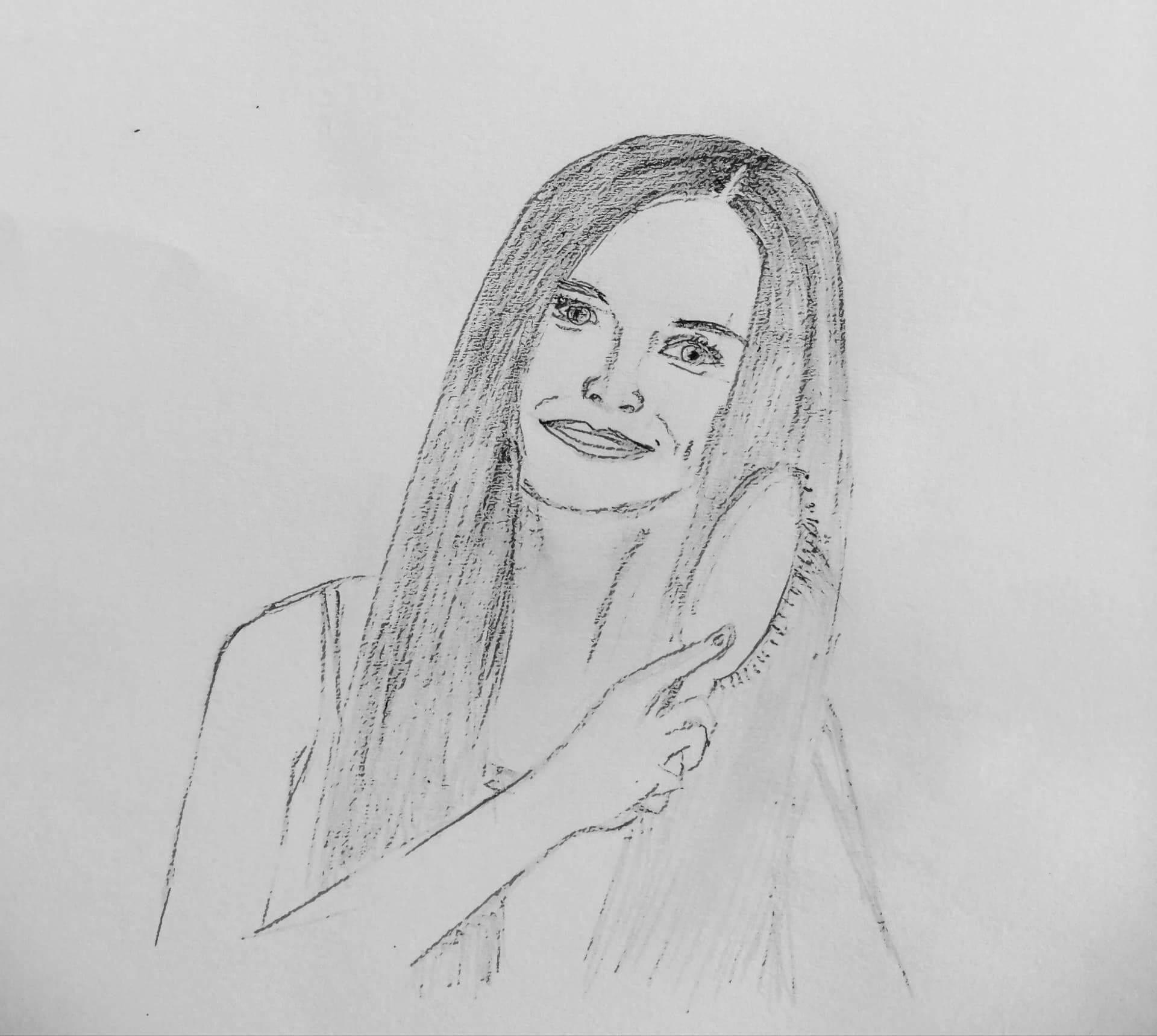 sketch-of-girl-brushing-her-hair